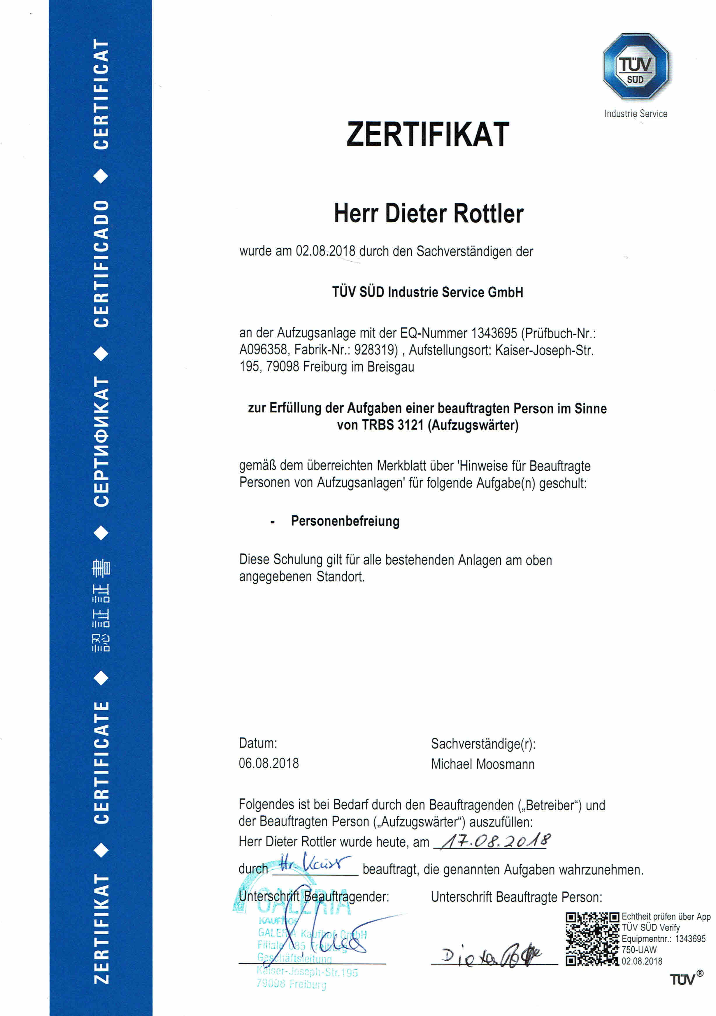 Zertifikat Aufzugswärter Galeria Kaufhof GmbH Freiburg